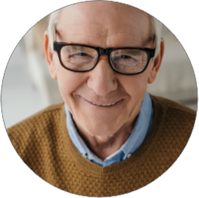 man with glasses smiling