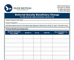 Beneficiary Changes (Annuities) Form Image