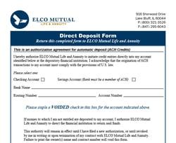 Direct Deposit Form Image