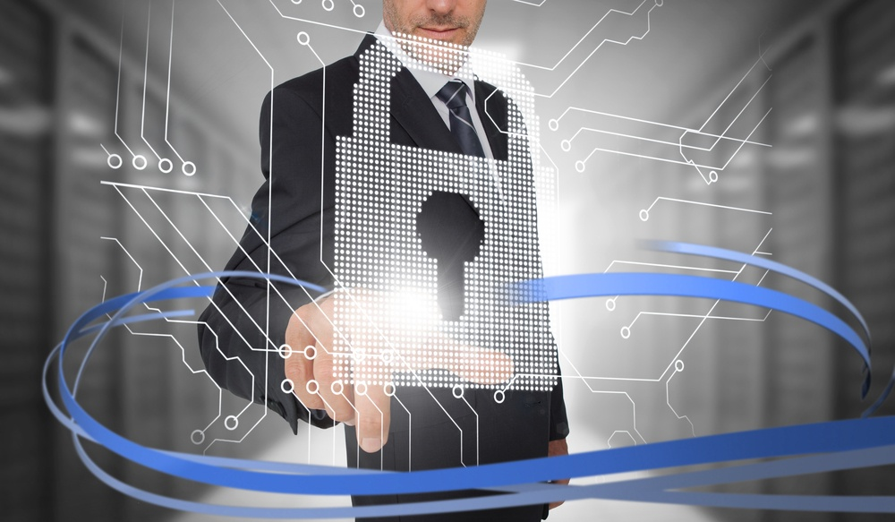 Businessman touching lock on futuristic interface with swirling lines in data center
